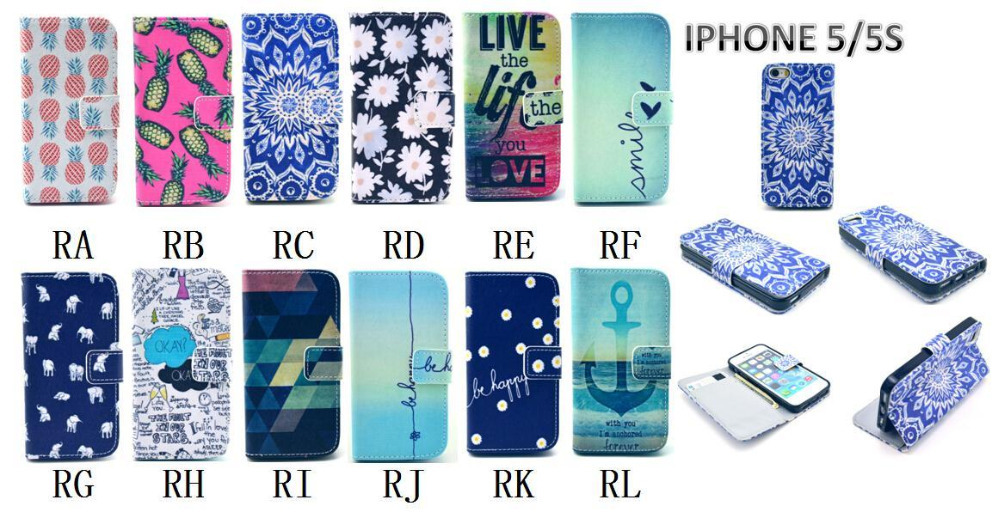 Wallet Style Flip Case with Anchor Stripe Aztec Tribal Tribe Cartoon Print For iphone 5 5S 5G Stand PU Leather Cell Phone Cover(China (Mainland))