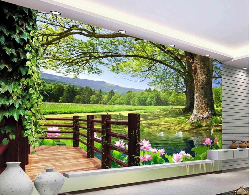 3d Room Wallpaper Landscape Balcony Scenery 3d Wall Murals