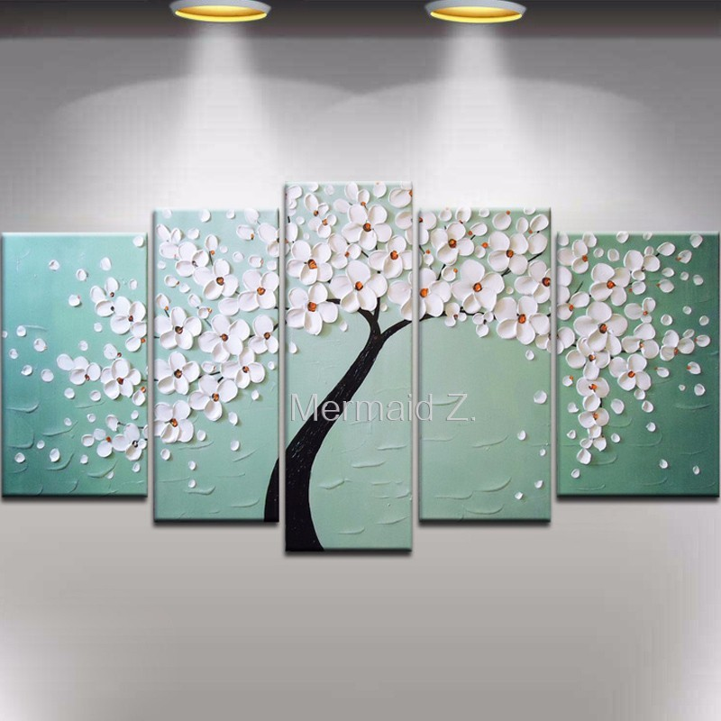 Buy High Quality Abstract Hand Painted White Tree Palette Knife Modern Oil Painting Canvas Wall Living Room Artwork Fine Art cheap