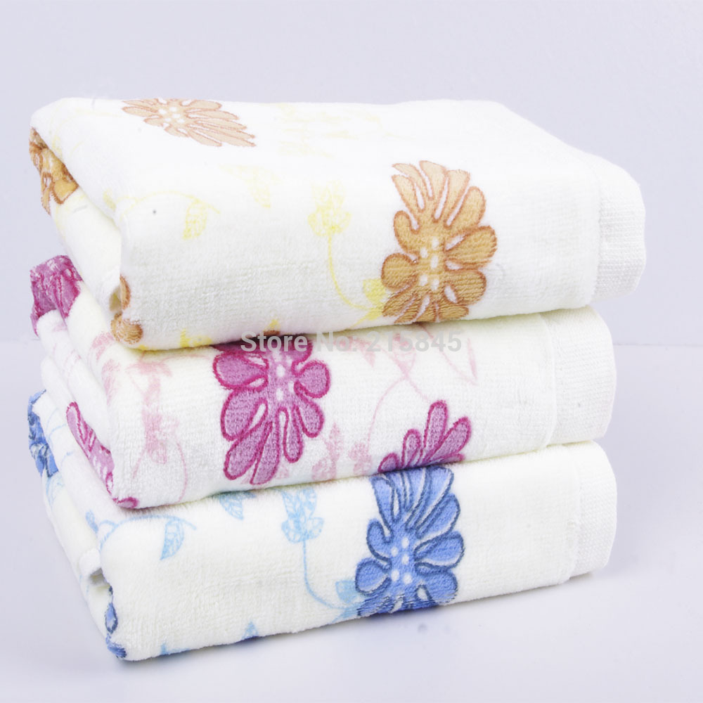 2015 New Towels Bathroom 3pcs/lot 100% Cotton Flowers Designed Absorbent Face Towel Kitchen Innovations 33*74cm free Shipping!!(China (Mainland))