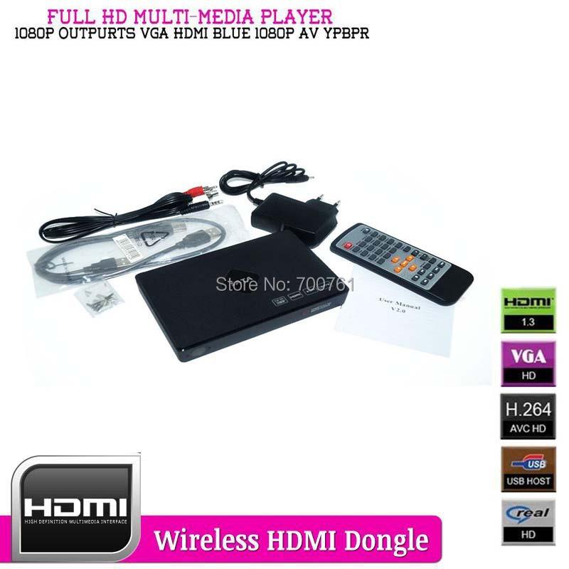 Portable Full HD 1080P MultiMedia Player Outputs HDMI, VGA, YPbPr, CVBS(AV) HDD media player support RM/RMVB SD/ SDHC/ MMC(China (Mainland))