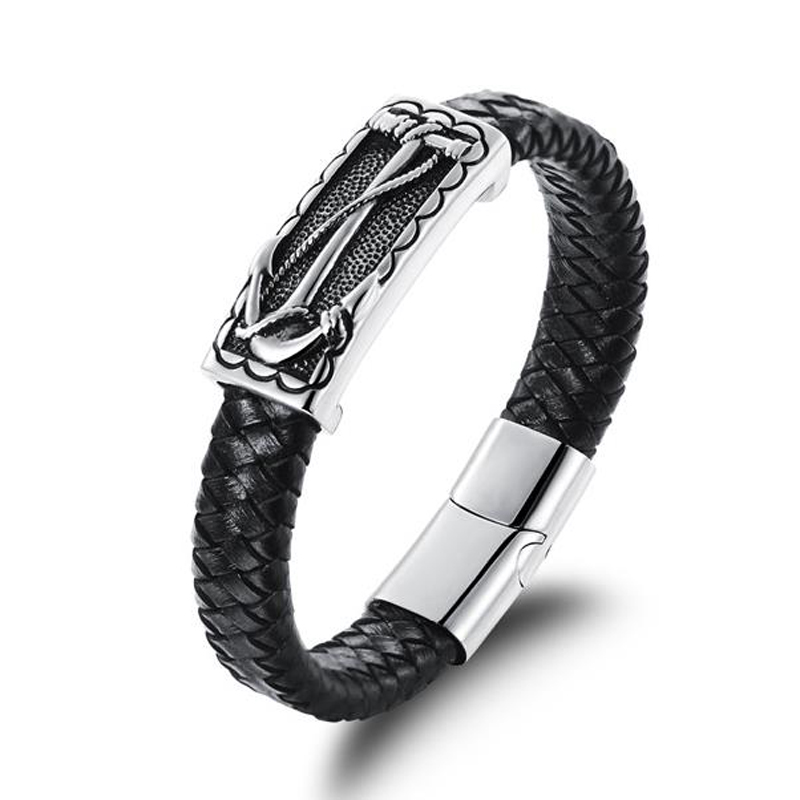 Mens Jewelry Leather Bracelet Wristband Man Anchor Wrap Charm Braclet Accessories Hand Cuff Punk bracelets & bangles men jewelry(China (Mainland))