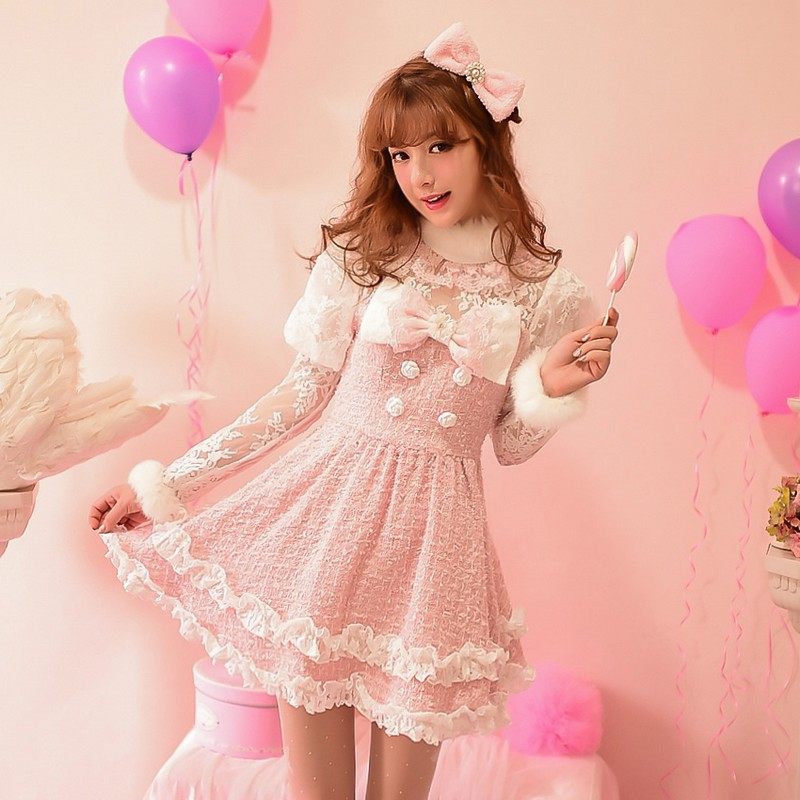 Candy 2015 women's sweet double breasted lace long-sleeve woolen princess dress one-piece dress(China (Mainland))