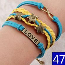 Vintage Braided Anchors braceletes best friends Leather Bracelet men jewelry heart charm Bracelets for women pulseira masculina(China (Mainland))