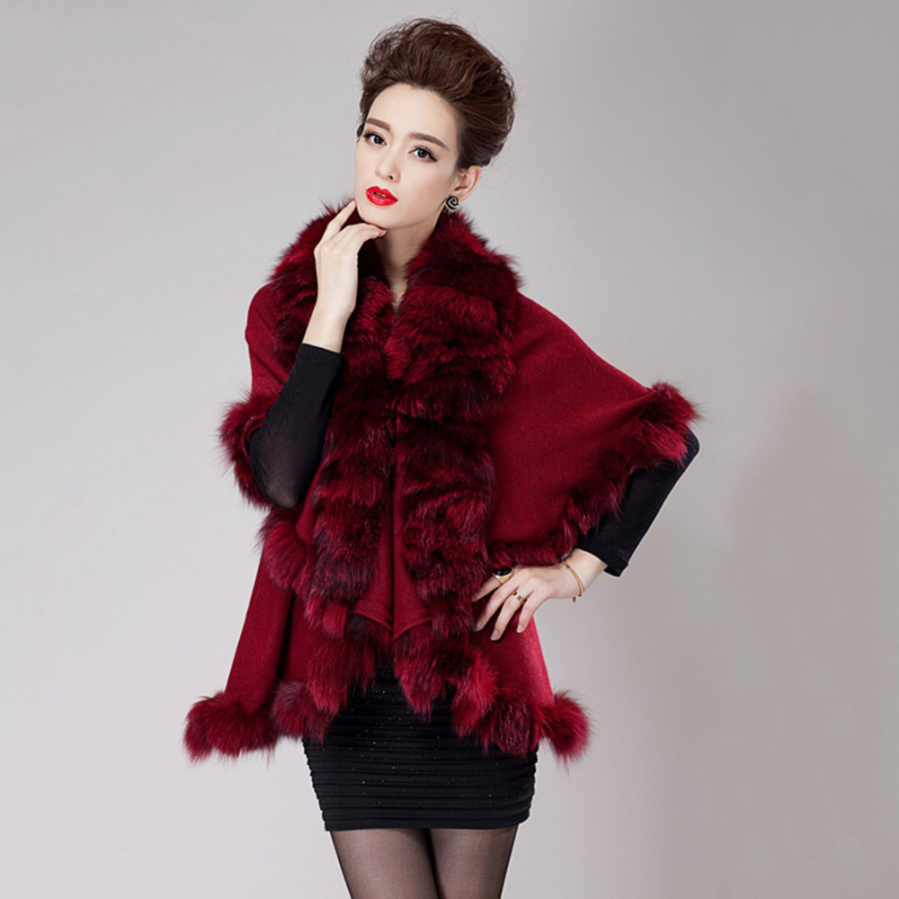 big plus size new real fur shawl women knitted cashmere cape with fox fur trim collar poncho wool wrap stole coat pashmina scarf(China (Mainland))