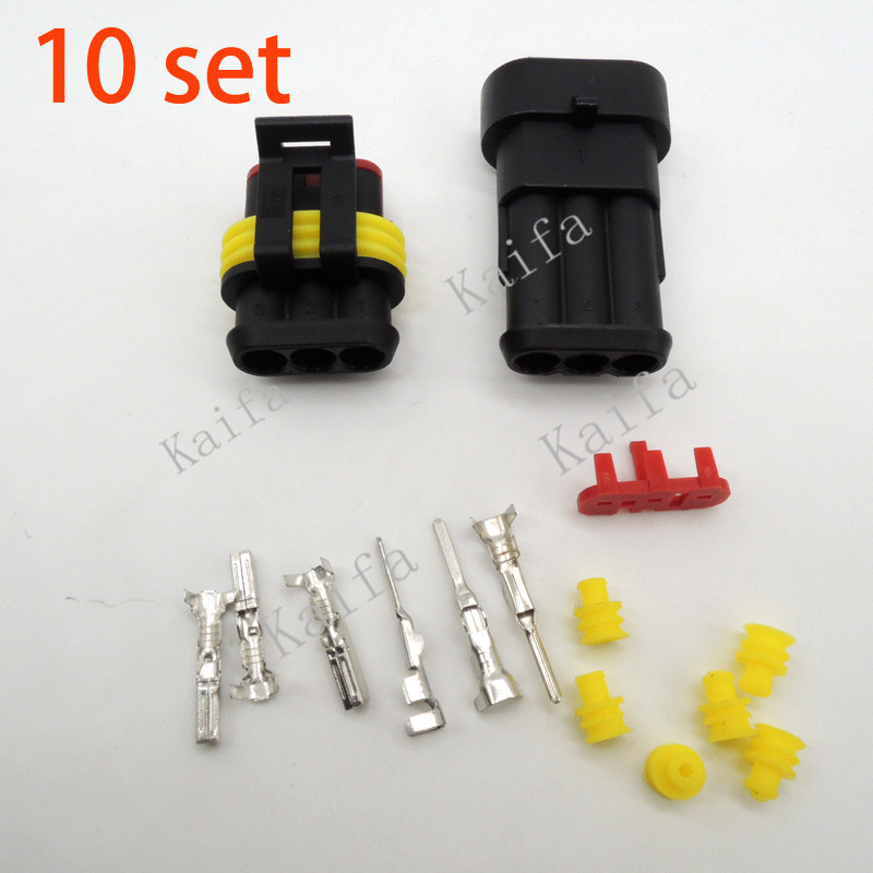 10 sets Kit 3 Pin Way Waterproof Electrical Wire automotive Connector Plug car registered . - Kaifa Co., Ltd. store