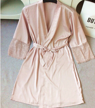 Mid-sleeve sexy women nightwear robes plus size M L XL XXL lace real silk female bathrobes free shipping 2015 vs brand hot(China (Mainland))