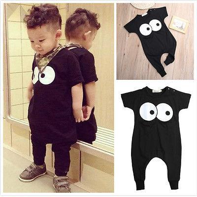 2016 мода новая одежда для мальчиков ковылять дети летом с коротким рукавом милые большие глаза карман ползунки