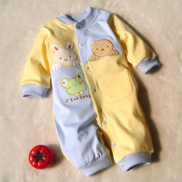 2016 новорожденного мальчика зимой clothes100 % Хлопка С Длинным Рукавом Ребенка Комбинезон Мягкий Младенческая девочка Комплект Одежды Комбинезоны