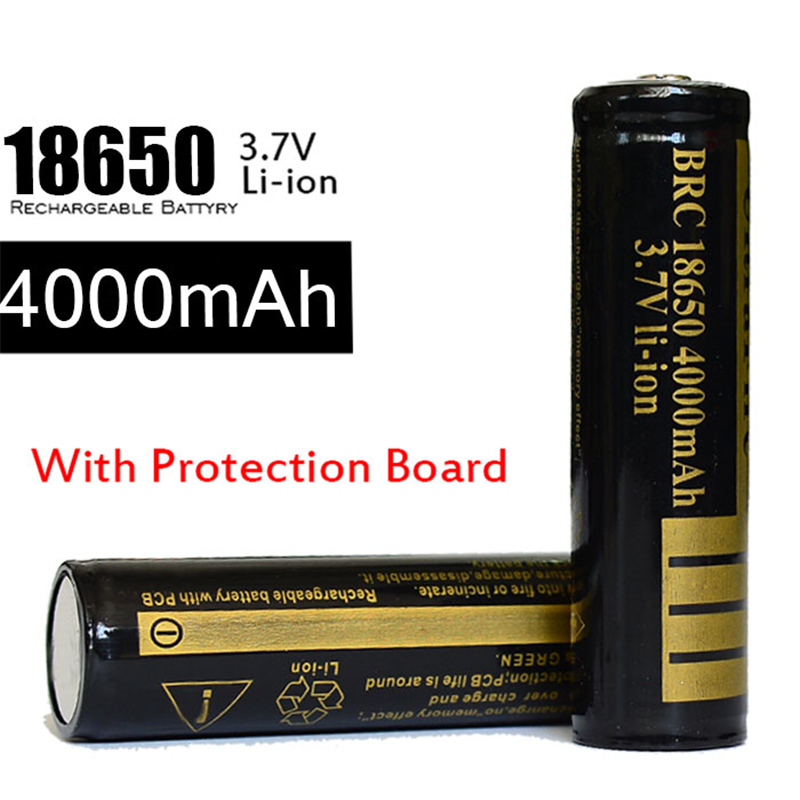 High Capacity 18650 Battery 4000mah Rechargeable Lithium Batteries 3.7v For Flashlight LED Laser Pen Headlamp Built Protected<br><br>Aliexpress