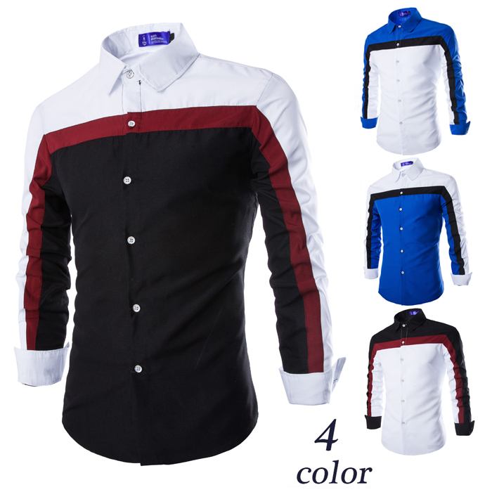 Autumn 2015 elegant fashion male casual patchwork shirt long-sleeve all-match c79 - Pike shop store