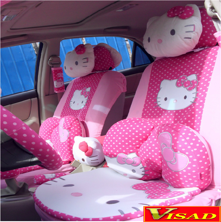 buy free shipping 29pcs set car covers pink hello kitty seat covers interior. Black Bedroom Furniture Sets. Home Design Ideas