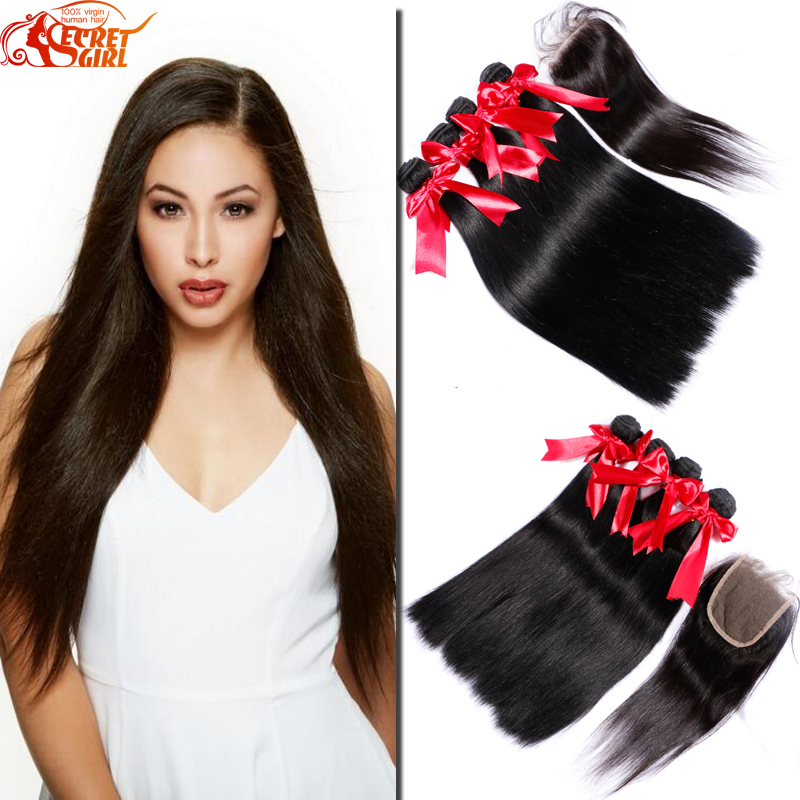 Malaysian Straight Hair With Closure 3 Bundles With Lace Closure Middle/Free/3 Part Lace Closure Malaysian Hair Weave <br><br>Aliexpress