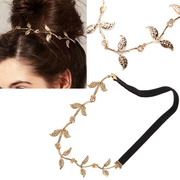 Alloy Leaf Leaves Grecian Garland Forehead Head Hair Band Headband Gold Olive Branch Accessory BS88(China (Mainland))
