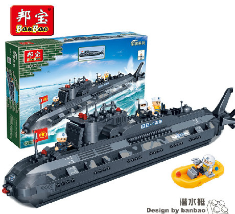 Banbao Model building kits compatible lego city military submarine U-boat 3D blocks Educational toys hobbies children - JENS store
