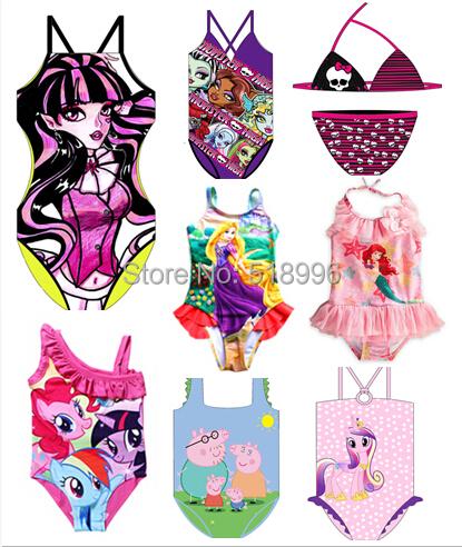 Newest Kids Girl Swimwear monster swimwear pig cute kitty little pony swimsuit Ariel swimwear high baby cartoon costume(China (Mainland))
