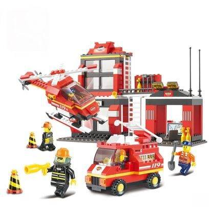 Sluban Building Blocks City Fire Station Truck Helicopter Firefighter Minifigure learning & Education toys Kids Gifts Brinquedos(China (Mainland))