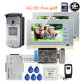 FREE SHIPPING 7 Screen Video Intercom Door Phone 2 Recording Monitors Outdoor RFID Access Camera Electric