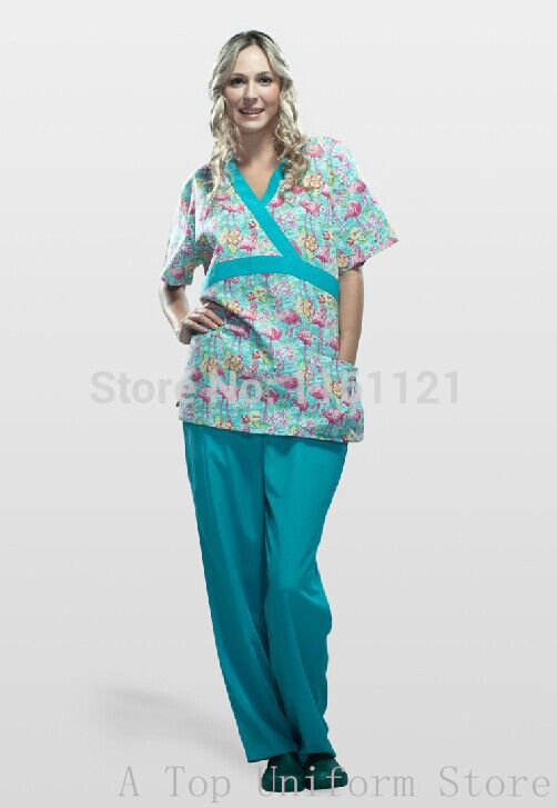 2015 Scrub Hats For Women New A Top Women's Hospital Medical Scrub Set Clothes Short Sleeve Free Shipping S09008 Nurse Uniform(China (Mainland))