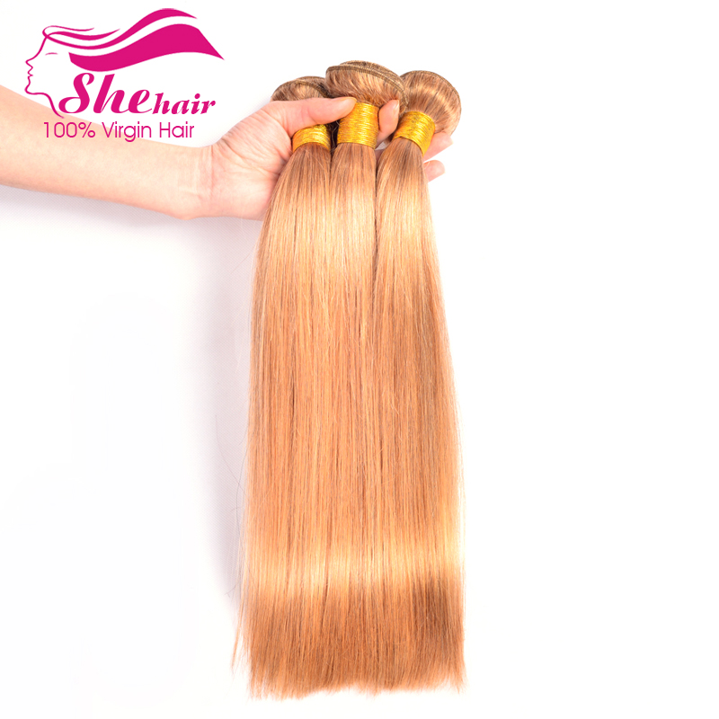 She Hair New 2014 27 Color Honey Brown Human Hair Weave Straight