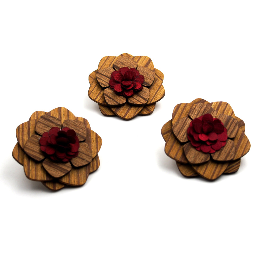 Mens Brooch Needle Corsage For Men's Wedding Dress Fashion Mens Suit Flower Brooches Handmade Wood Lapel Pins(China (Mainland))