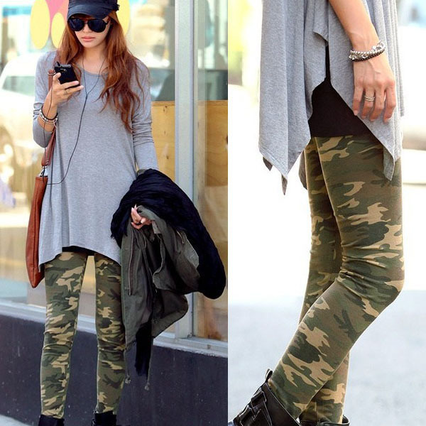Womens Camouflage Army Print Stretch Cool Sexy Pants Skinny Leggings Trousers Freeshipping Dropshipping(China (Mainland))