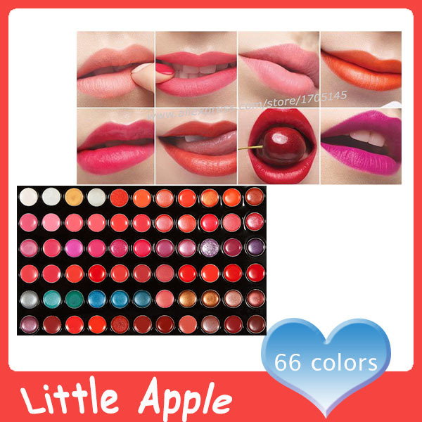 DHL Wholesale Professional Cosmetic 66 Color Lip Palette Gorgeous Make Up Lip Palette Long lasting Lipstick Lip Gloss(China (Mainland))