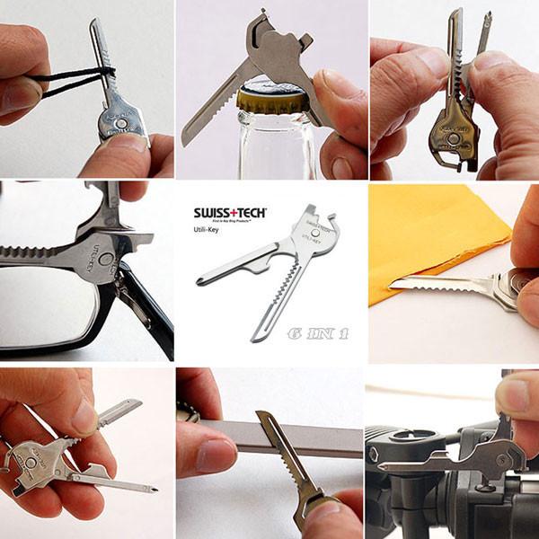 1 PCS Wholesale New 6 In 1 Utili-Key Mini Multitool Keyring Pocket Stainless steel Knife Folding Knife Swiss Tech Simple package(China (Mainland))