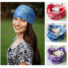 Tie Dye Printing Wide Cotton Stretch Elastic Sport Women Headband Hair Accessories Turban Headwear Bandage Hair Band Bandana