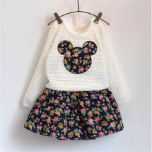 New Arrivals Spring Autumn Girls Clothing Sets Froral Dress + Lace Minnie Tops Tees Baby Kids Clothes Children Clothing, 2-7age