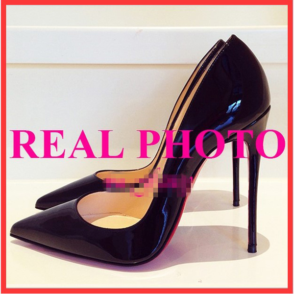 12cm high-heeled shoes pointed toe size japanned leather nude color black red - Wyatt happy store