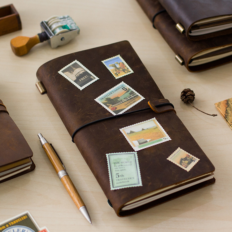 Hot Sale 100% Genuine Cow Leather Cover Traveler's Notebook Diary Journal Vintage Handmade Cute Travel Note Book Pocket(China (Mainland))