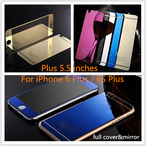 Premium Front Back Mirror Colored Tempered Glass for iPhone 6 plus 6s plus 5 5 inch