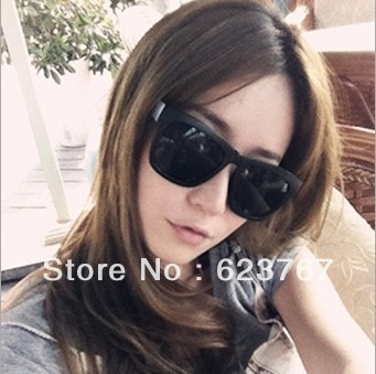 Free shipping fashion black for men and women large frame sunglasses