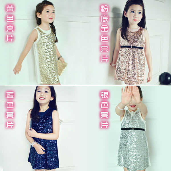Baby Girl Sequined Dress Girls' Summer Dresses New 2015 Wholesale Kids Cotton Sleeveless Clothes 100-140 5pcs/lot XQ-515(China (Mainland))