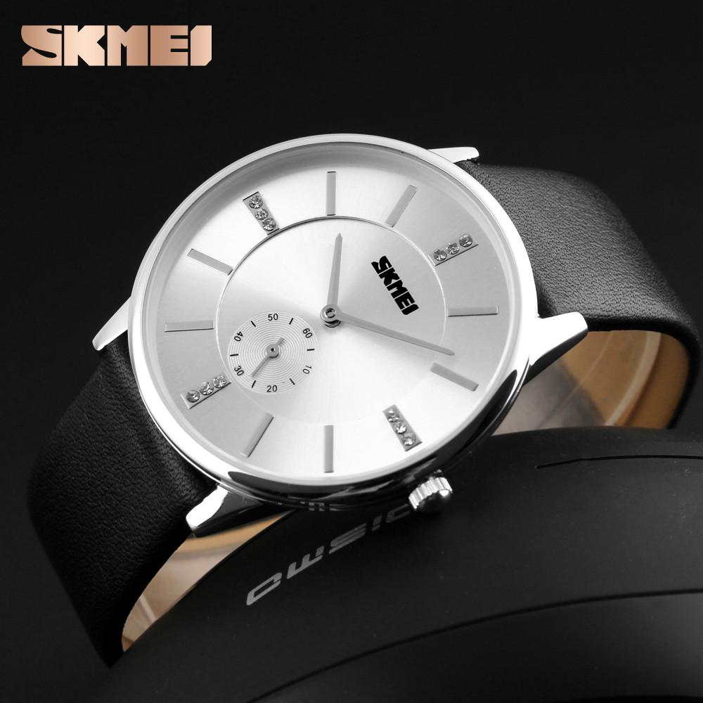 Skmei Часы Время мужская мода Кварцевые Алмазы Элегантный Кожаный