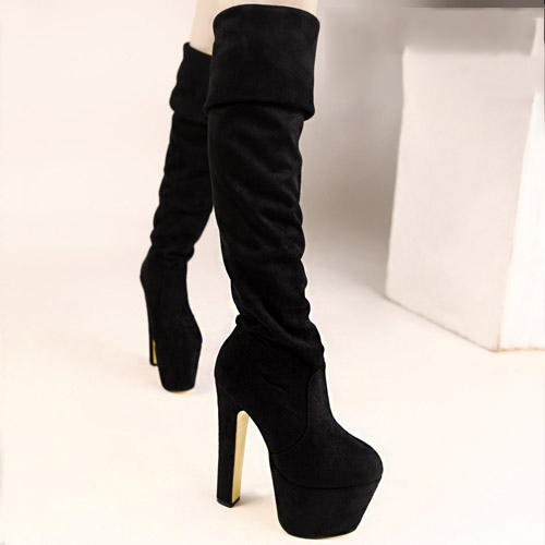 Black Blue Affordable 16CM Sexy Over Knee High Boots Ladies Chunky Heels Pumps Shoes Woman<br><br>Aliexpress