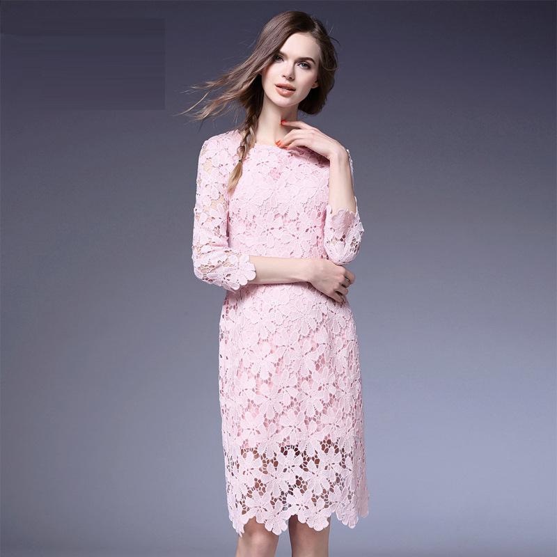 New Princess Dress Hot Style 2016 Spring Women V-Neck Elegant Lace Patchwork Bow Waist 3/4 Sleeve Ball Gown Dress White Black XL