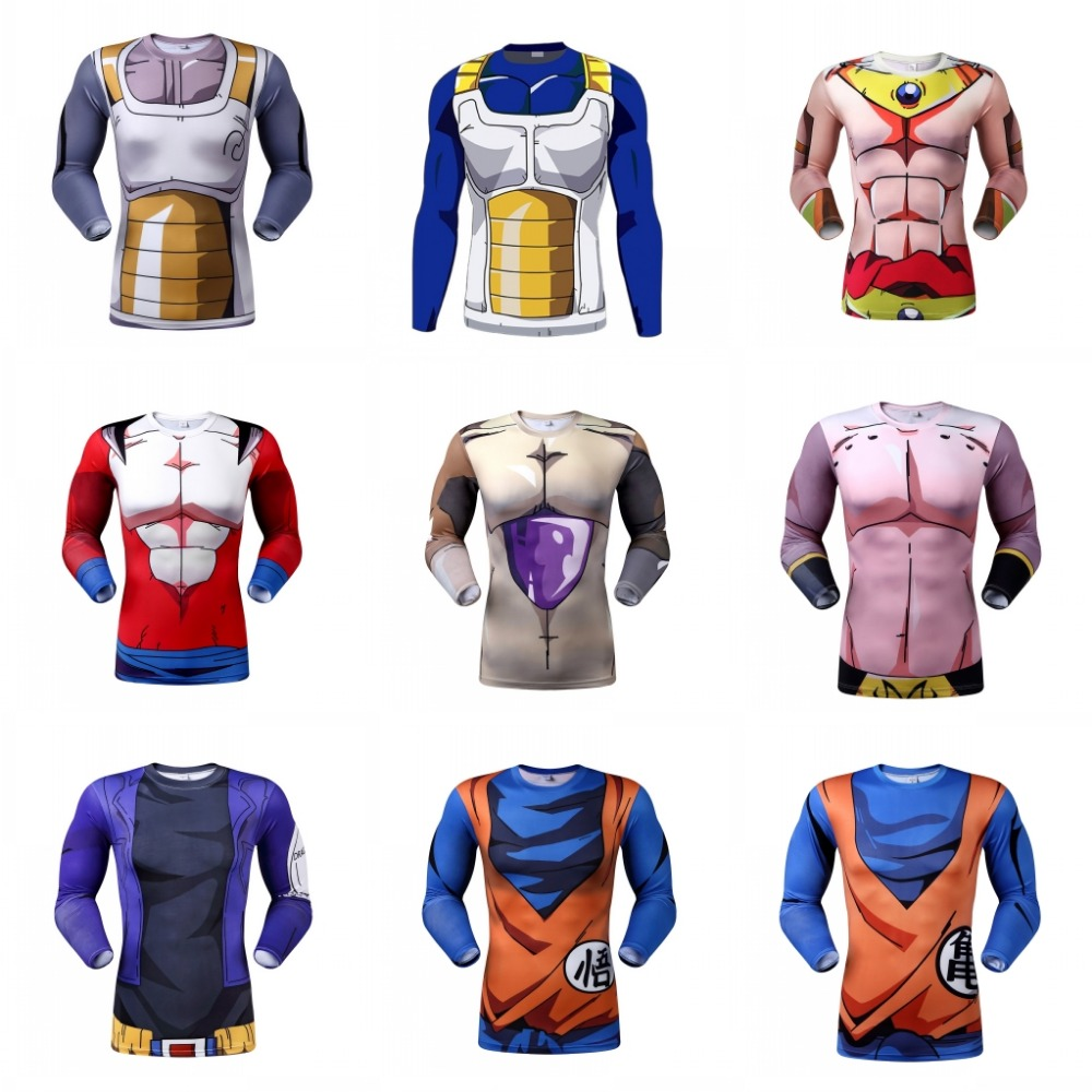 HIGH QUALITY CLASSIC ANIME DRAGON BALL Z SUPER SAIYAN 3D T SHIRT VEGETA GOKU ARMOUR FITNESS TIGHTS WOMEN MEN CASUAL TEE SHIRTS(China (Mainland))