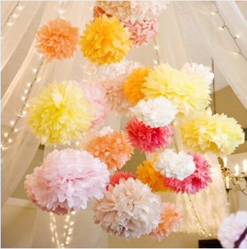 Wholesale 30cm tissue paper pom poms flower balls hanging decoration party birthday wedding - Hanging paper balls decorations ...