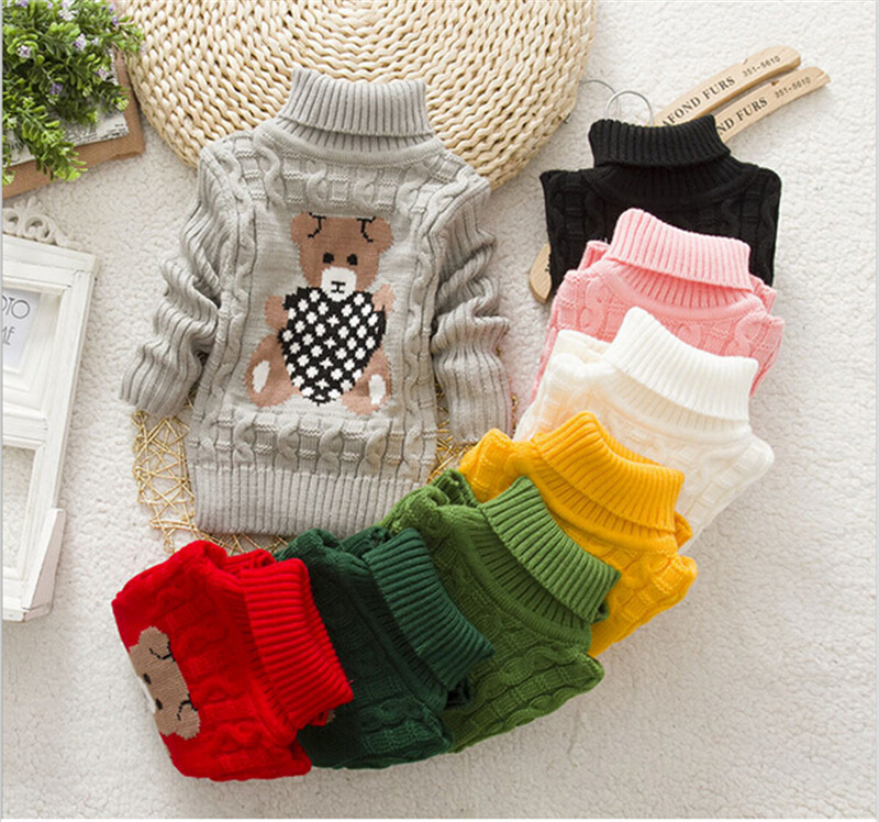 Children Clothes Sweater High Quality Baby Girls Boys Pullovers Turtleneck Sweaters Autumn Winter Warm Cartoon Kids Sweater(China (Mainland))