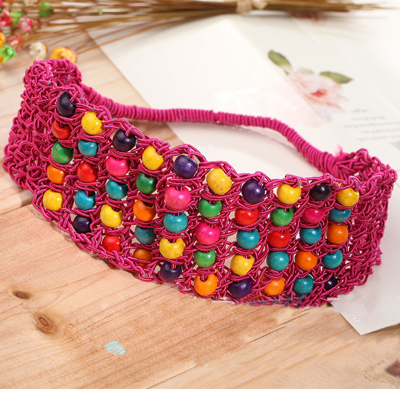 Newest Fashion Bohemian Style Handmade Weave Knit Hairbands Headwrap With Colorful Wood Beads Holiday Hair band Turban For women(China (Mainland))