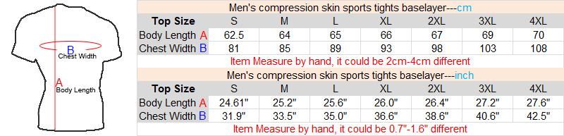 short sleeve compression shirt size measure