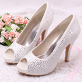 Wedopus Custom Rhinestone Diamond Ivory Wedding Platform Heels Shoes 10cm Heels