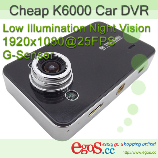 K6000 Car Video Registrar DVR Camera Full HD 1080P with Motion Detection + Night Vision + 140 Degree Lens Angle