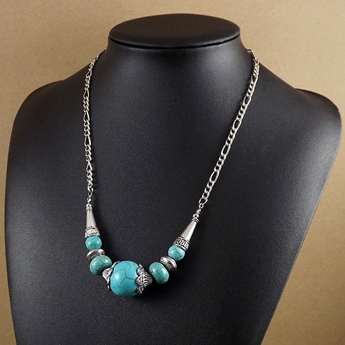 Factory Price New 2015 Spring Bohemia Sliver Plated Tibet Jewelry Long Chain Turquoise Angel Eyes Pendant Necklace Women - Olaru Store store