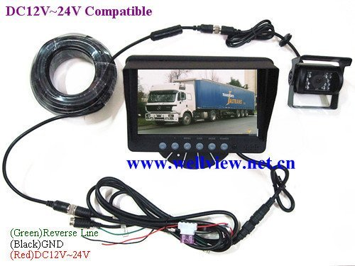 CCD Backup Camera for Truck with 7inch Rear Monitor,24V DC