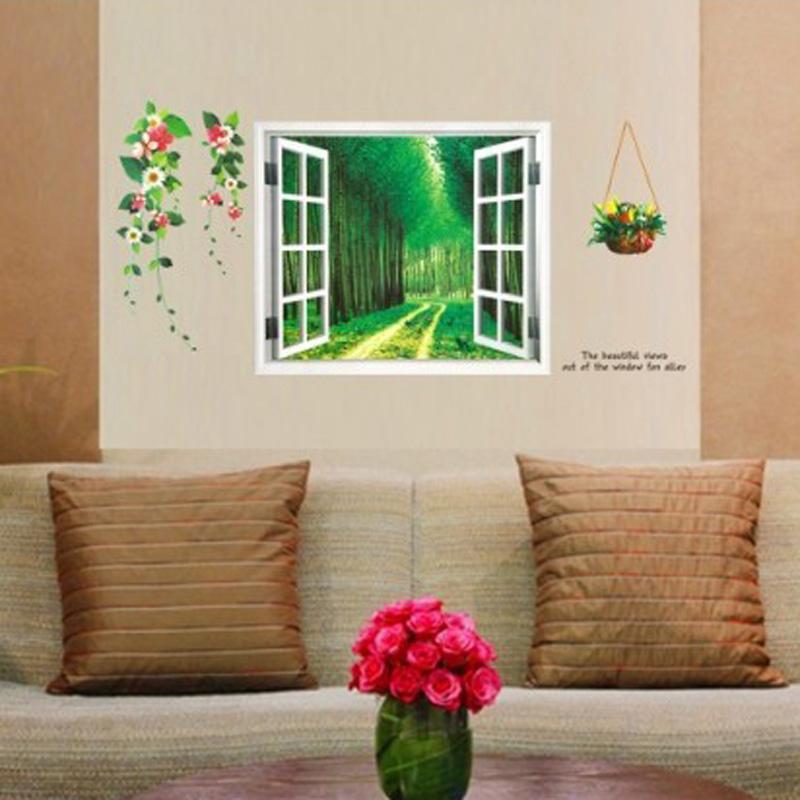 Wallpaper 3d Home Decoration Diy Window Sticker Fake Landscape Flower Wall Stickers Home Decor