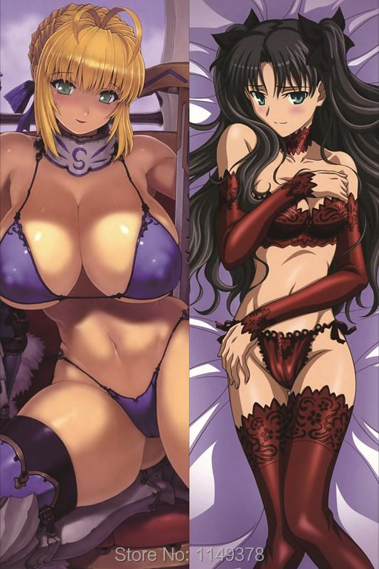 Anime Dakimakura Pillow Case Fate/Stay night Saber Altria Pendragon Tohsaka Rin SA012 (150*50cm-Peach Skin) - WOW-Anime store