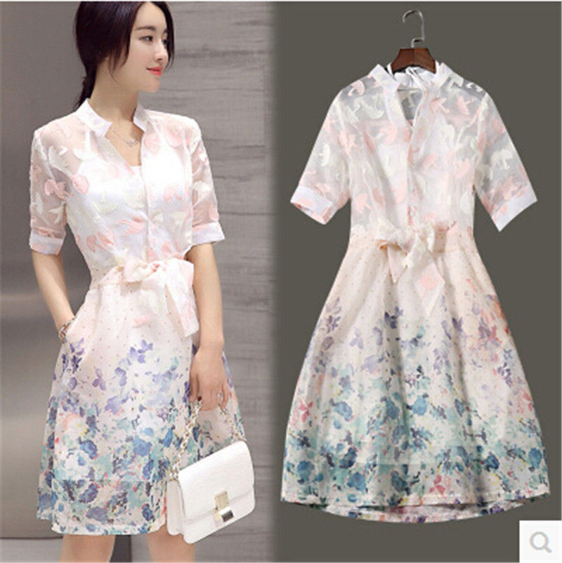 2016 Dress Women Summer style Latest Fashion Two-piece Printing Organza POLO collar With short sleeves High quality BN890(China (Mainland))